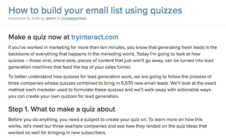 15 creative lead generation ideas to tryinteract_quiz_example png