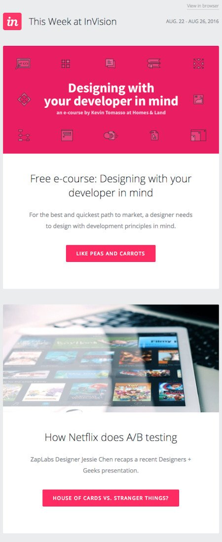 """Email Marketing Campaign Example: Invision - """"Designing with your developer in mind"""""""