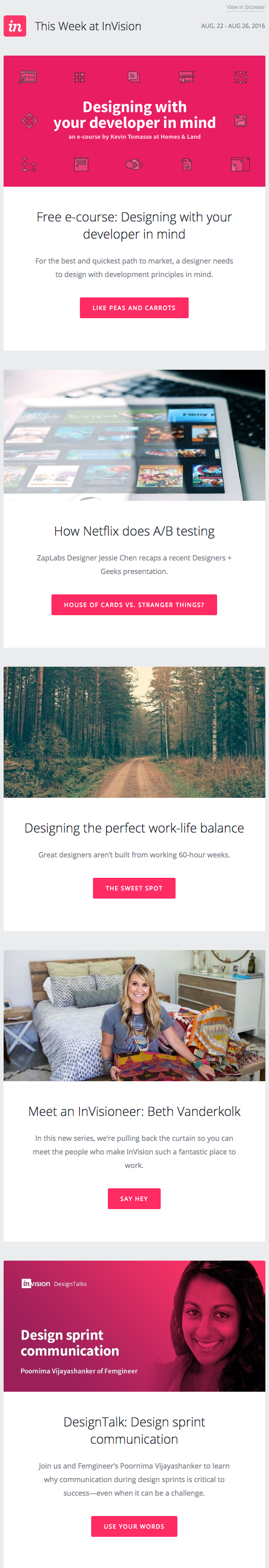 Email marketing campaign for the weekly blog newsletter of InVision