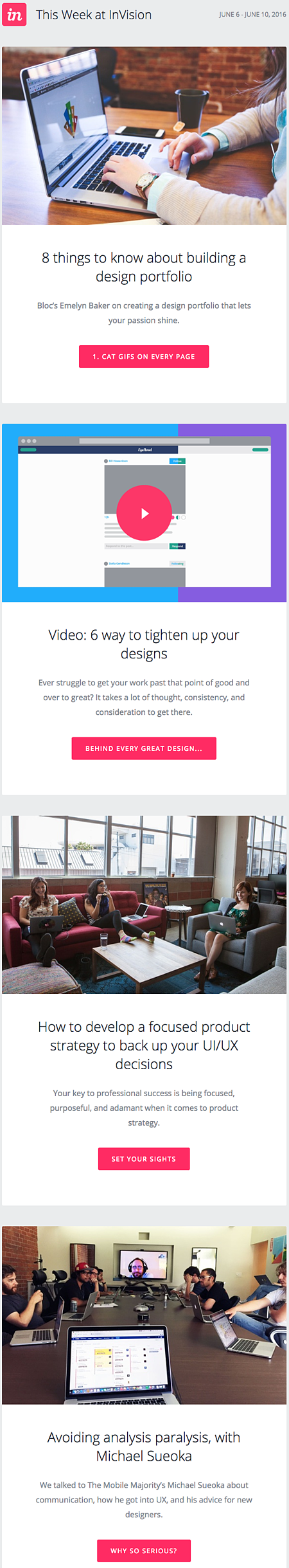 Email Newsletter Example: InVision
