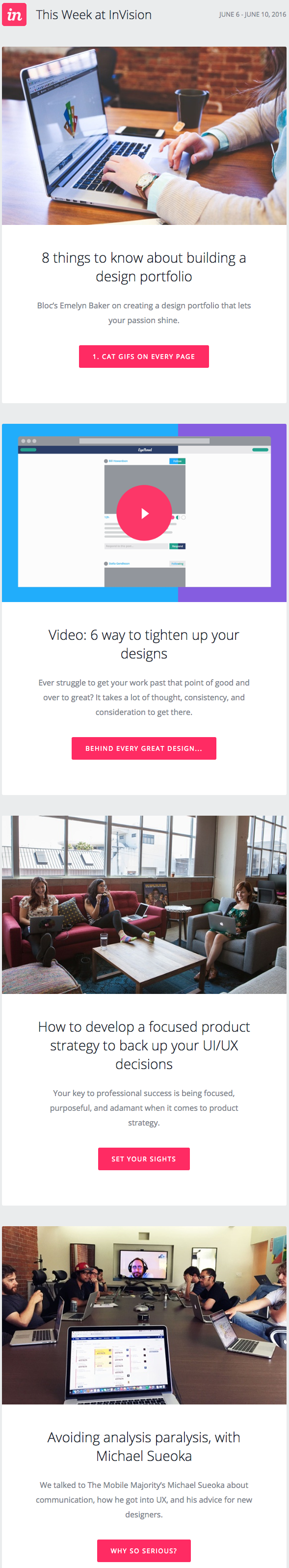 Email newsletter example design with blog posts by InVision