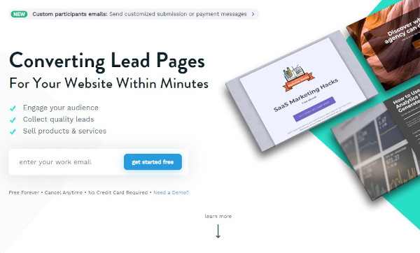 "involve.me website that reads ""converting lead pages for your website within minutes"""