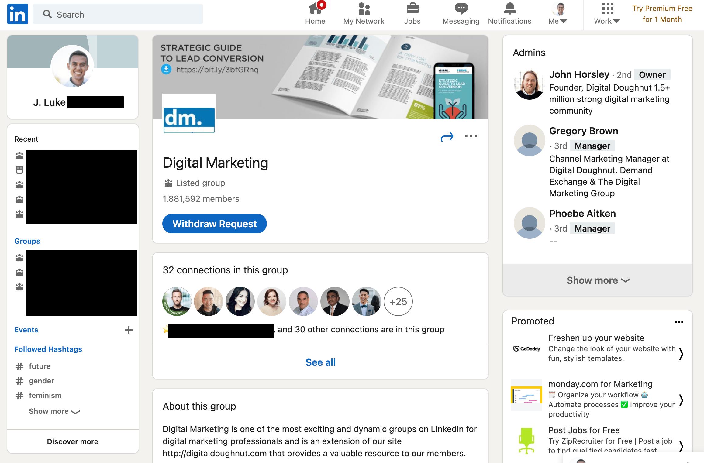 digital marketing linkedin group homepage