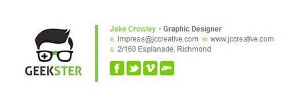 Professional email signature example by Jake Crowley