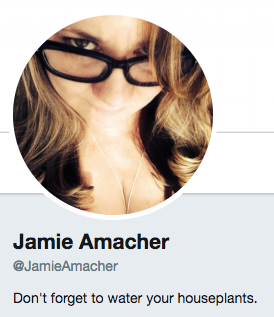 Funny Twitter bio from @JamieAmacher