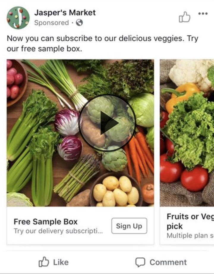 Jasper's Market Facebook ad example.