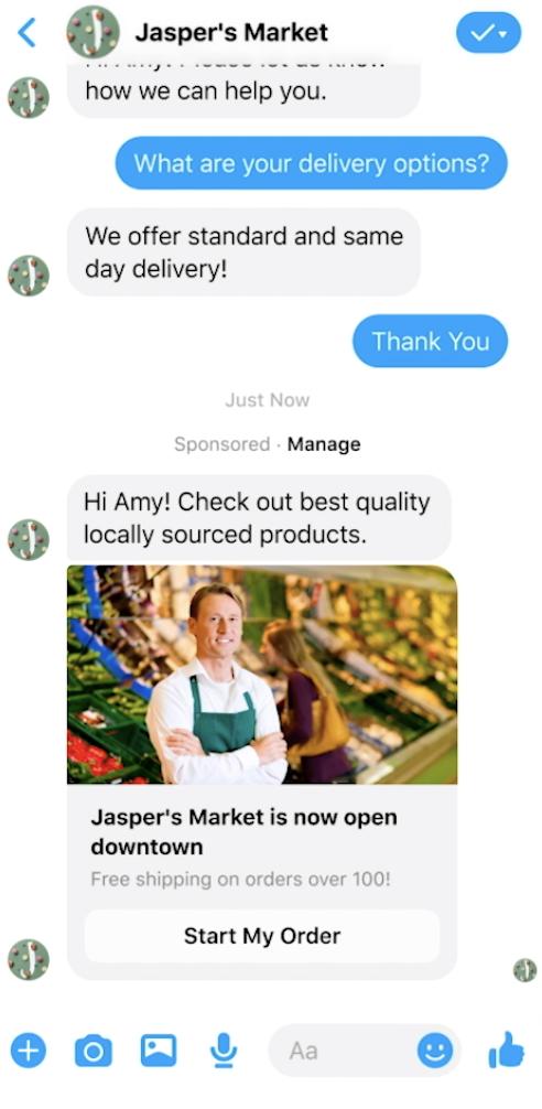 Jasper's Market Facebook Messenger ad example.