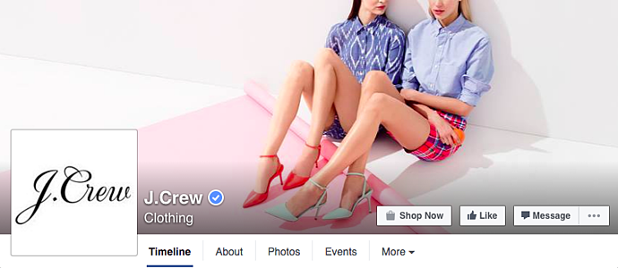 J Crew Facebook cover photo.