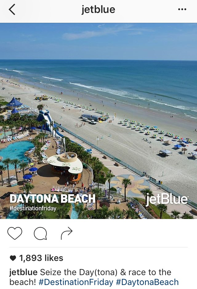 Instagram caption with lighthearted tone and puns by JetBlue