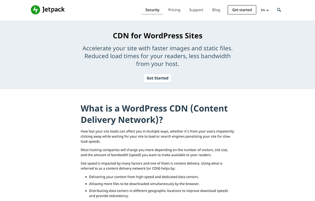 WordPress free CDN service by Jetpack, named Site Accelerator