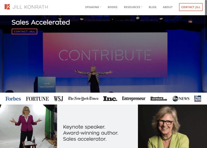 Jill Konrath Homepage Design Png