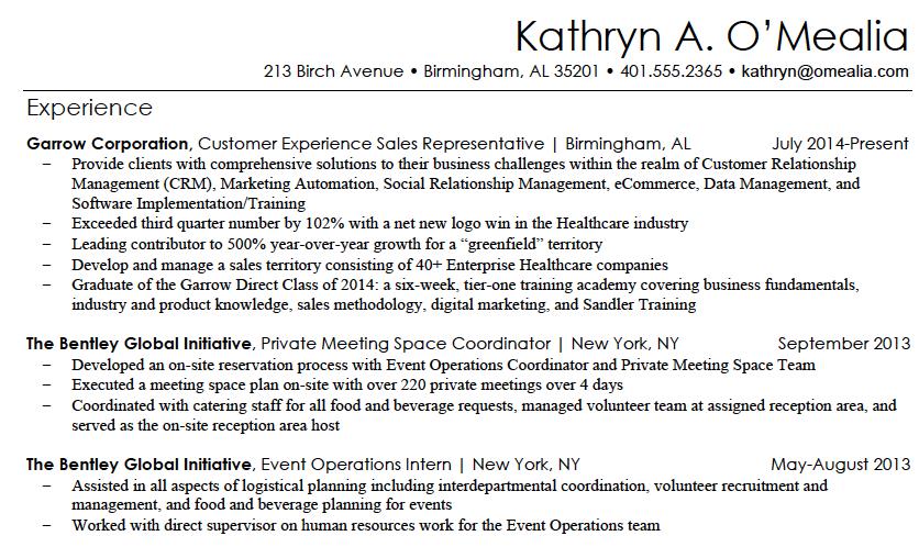 kathryn resume sample 1png - Resume Bullet Points