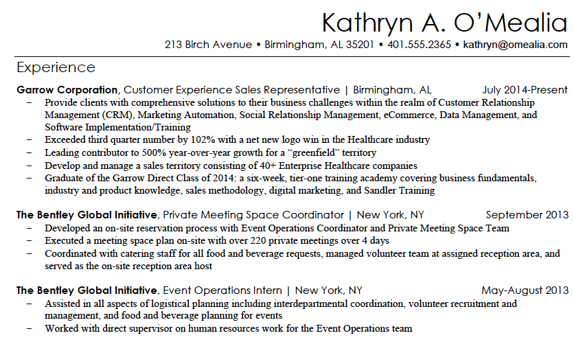 Kathryn Resume Sample 1.png  Bullet Point Resume