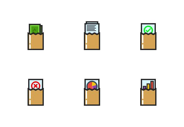 kem bardly filled envelope icon set