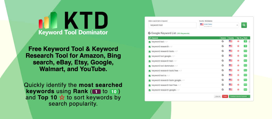 Keyword Tool Dominator is a free keyword research tool.