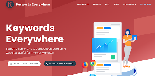 Keywords Everywhere SEO tool.