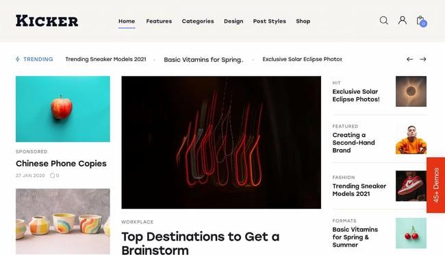 Best viral WordPress themes: Kicker