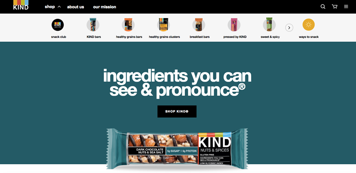KIND Snacks homepage web design