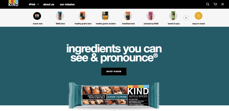 KIND Snacks homepage web design