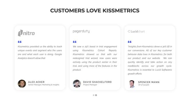 Testimonial example from the Kissmetrics home page