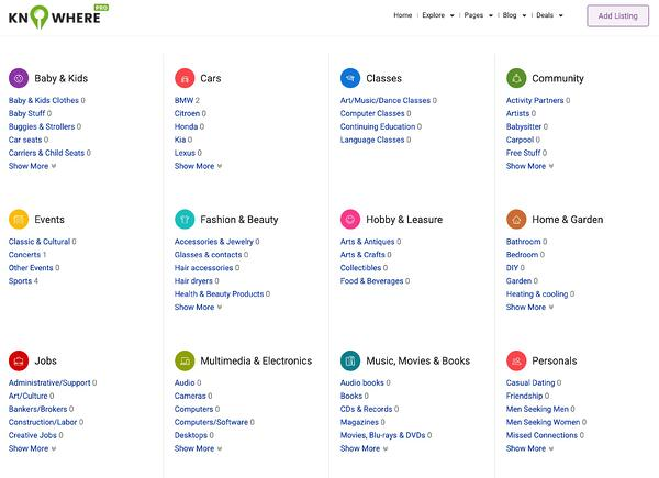 sample knowhere pro homepage displaying all classified listings categories