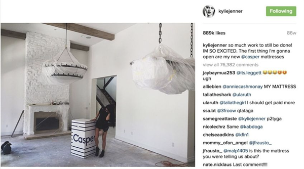 casper d2c brands marketing kylie jenner instagram
