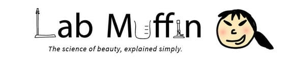 "lab muffin logo with marketing message that reads ""the science of beauty, explained simply."""