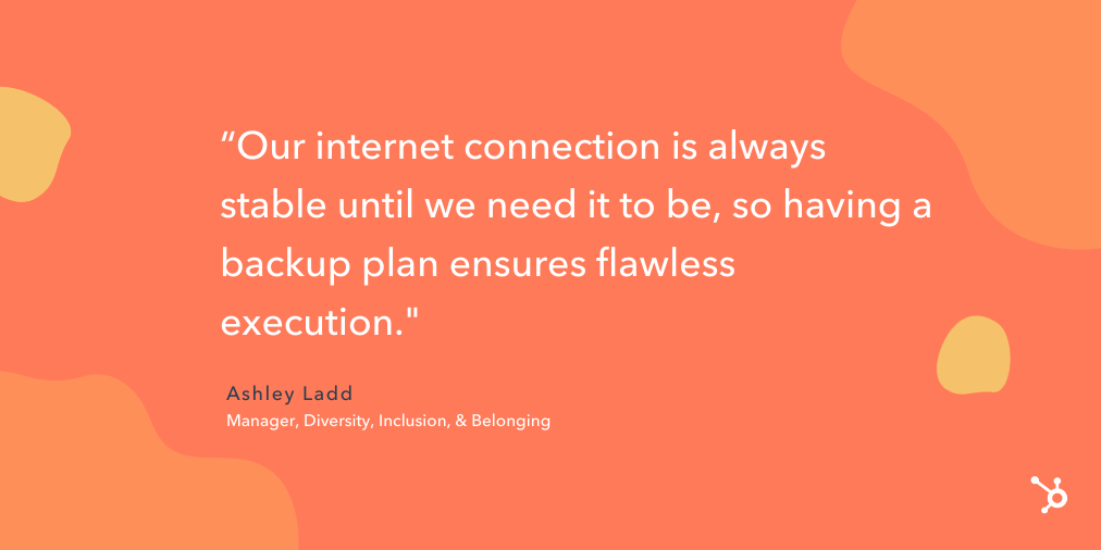 "quote snippet ""our internet connection is always stable until we need it to be, so having a backup plan ensures flawless execution."""