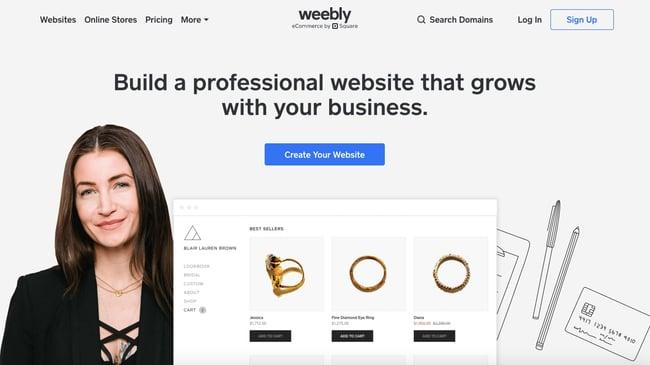 landing page of website builder  weebly