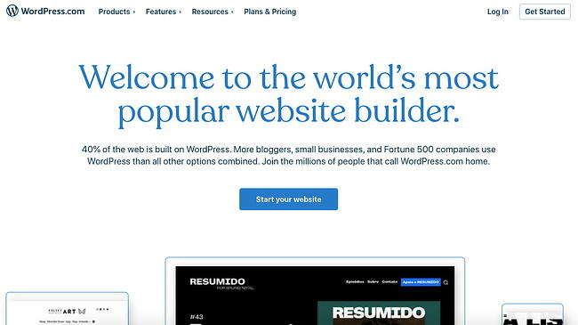 landing page of website builder  wordpress.com