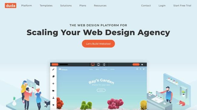 landing page of website builder Duda