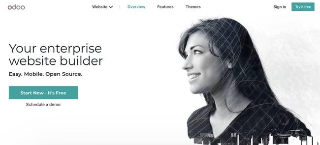 landing page of website builder Odoo