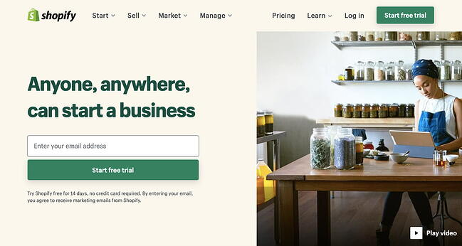 landing page of website builder Shopify