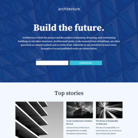 example landing page template in architecture with placeholder text and images