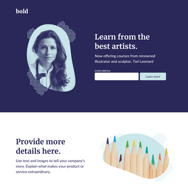 example landing page template in bold with placeholder text and images
