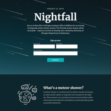 example landing page template in nightfall with placeholder text and images
