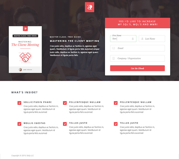 example landing page template in rally with placeholder text and images