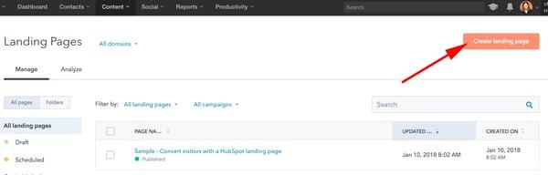 HubSpot登陆页面创建按钮。
