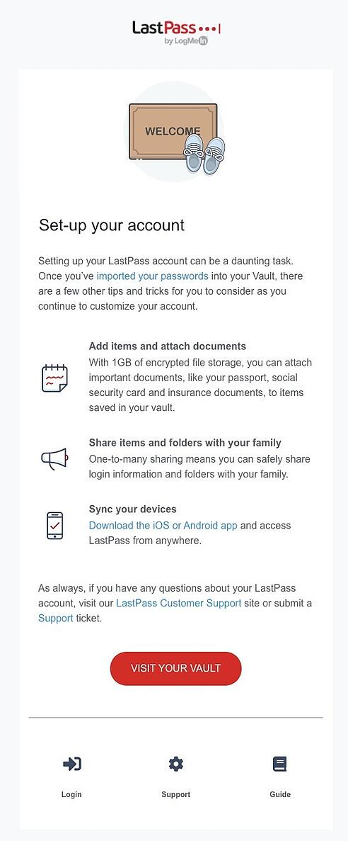 account set up onboarding email example from lastpass