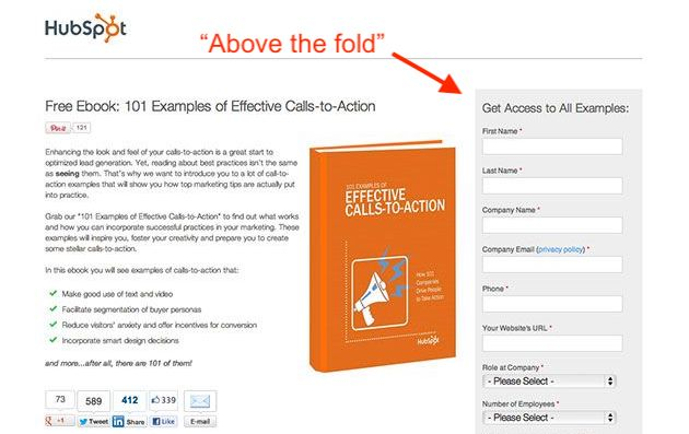 HubSpot landing page with lead-capture form to the right above the fold