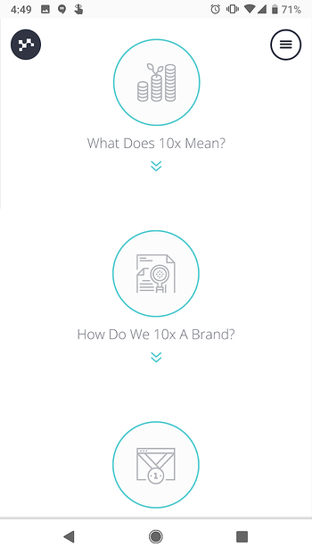 Lean Labs mobile website with circular CTAs to learn about 10x formula