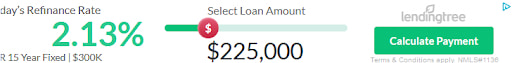 Lendingtree display ad with a loan calculator that you can use to calculate refinance rates