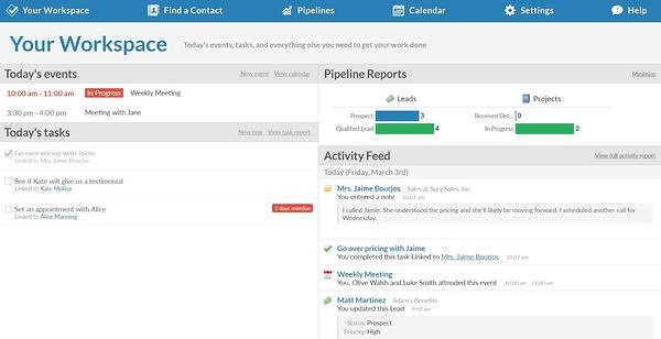 Less Annoying CRM for real estate agents in Workspace view