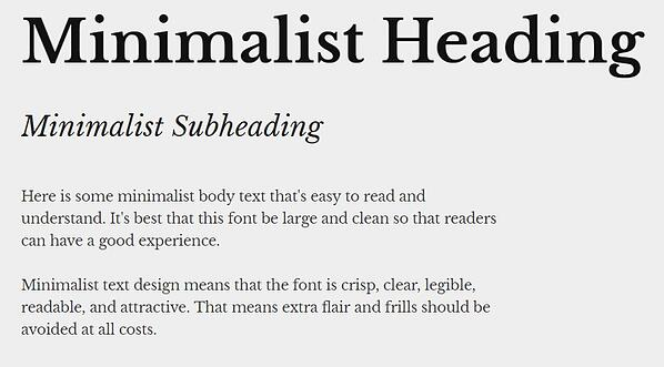 minimalist text design with heading, subheading, and body font in libre baskerville