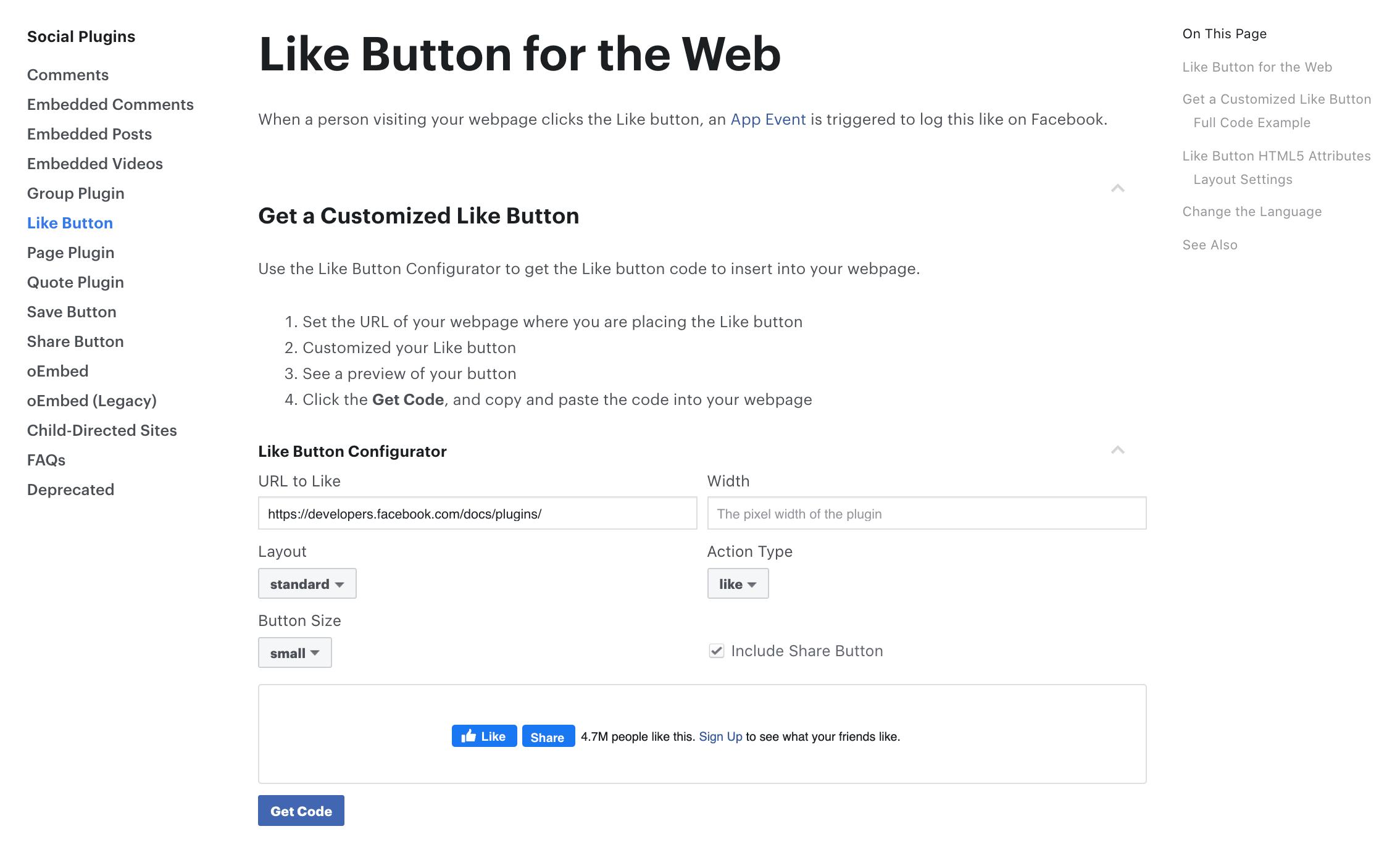 facebook developer like plugin