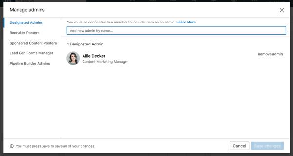 Linkedin company page Adding a designated administrator form