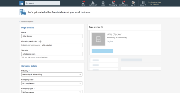 For linked company pages, fill in your company data. Form
