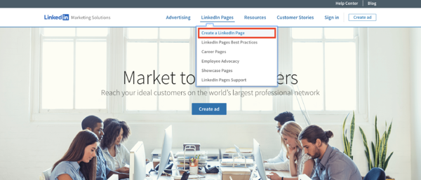 linkedin marketing solutions create a new linkedin page