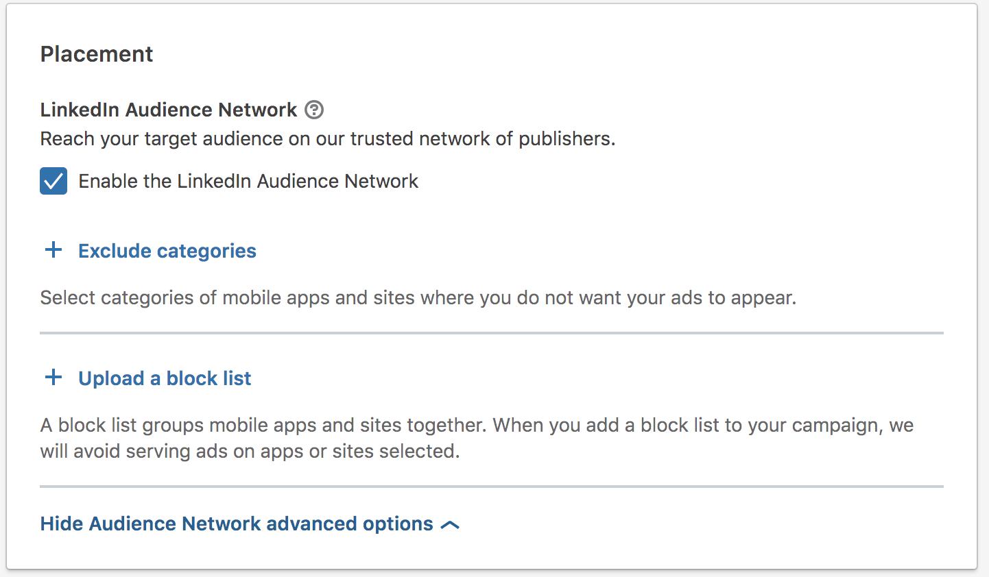 linkedin advertising linkedin audience network