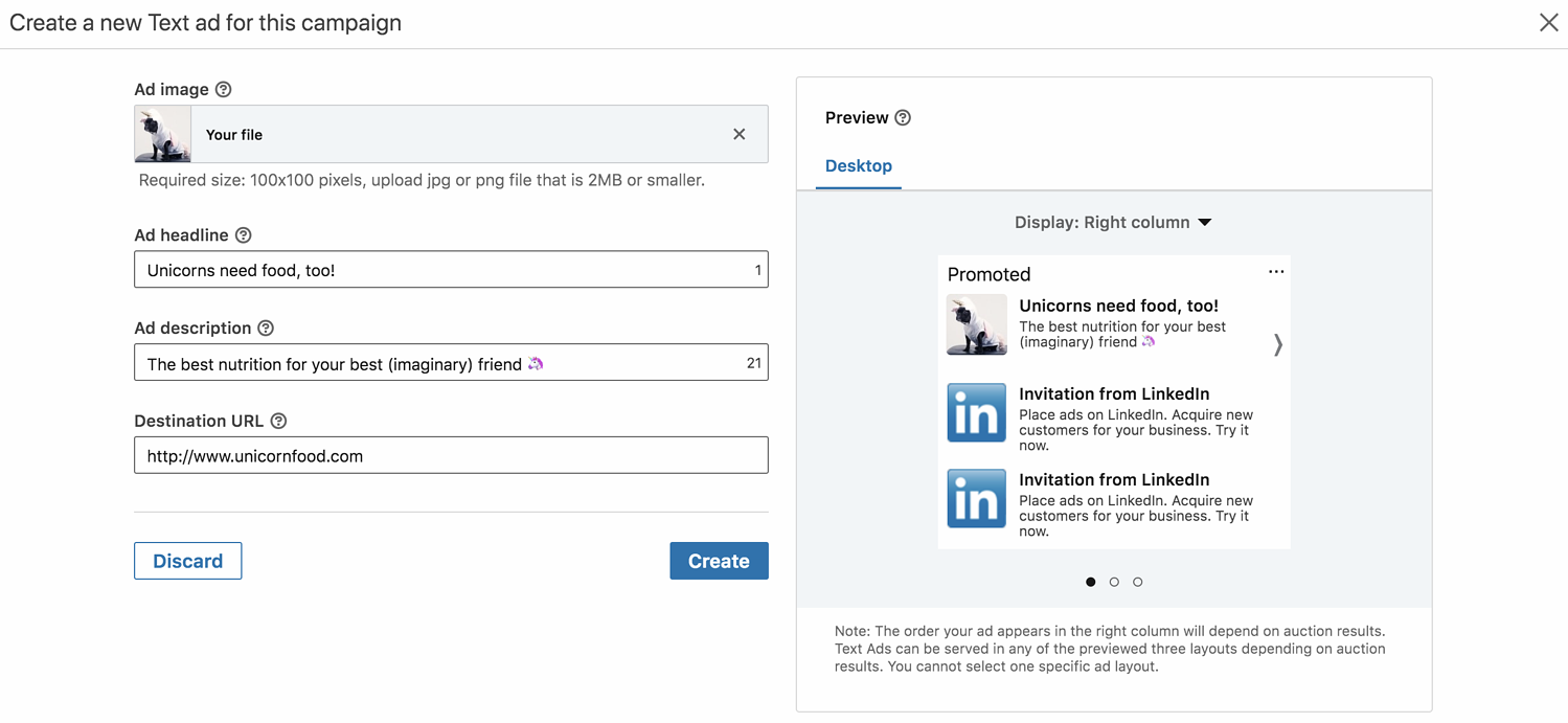 linkedin advertising ad preview